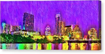 Austin Texas Skyline 104 - Pa Canvas Print by Leonardo Digenio