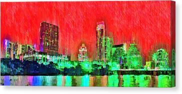 Landmark Canvas Print - Austin Texas Skyline 107 - Da by Leonardo Digenio