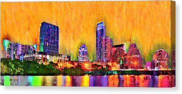 Austin Texas Skyline 109 - Pa Canvas Print by Leonardo Digenio