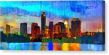 Austin Texas Skyline 200 - Pa Canvas Print by Leonardo Digenio