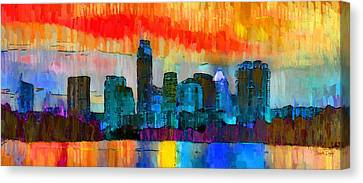 Austin Texas Skyline 201 - Da Canvas Print by Leonardo Digenio