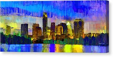 Austin Texas Skyline 204 - Pa Canvas Print by Leonardo Digenio