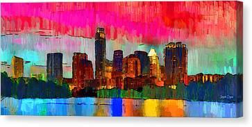 Austin Texas Skyline 210 - Pa Canvas Print by Leonardo Digenio