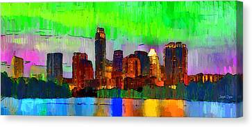 Colorado River Canvas Print - Austin Texas Skyline 213 - Da by Leonardo Digenio