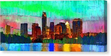Austin Texas Skyline 214 - Pa Canvas Print by Leonardo Digenio