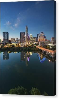 Frost Tower Canvas Print - Austin Texas Skyline At Night 73 by Rob Greebon