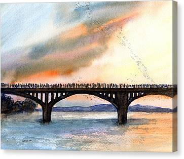 Austin, Tx Congress Bridge Bats Canvas Print by Carlin Blahnik
