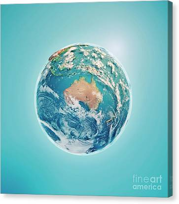 Australia 3d Render Planet Earth Clouds Canvas Print by Frank Ramspott