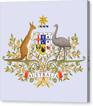 Canvas Print featuring the drawing Australia Coat Of Arms by Movie Poster Prints