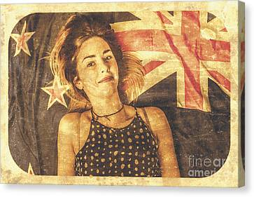 Australia Day Pinup Girl Postcard Canvas Print by Jorgo Photography - Wall Art Gallery