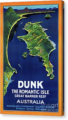 Australia Dunk Restored Vintage Travel Poster Canvas Print