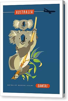 Australia Koala Bears Qantas Empire Airways Vintage Travel Poster Canvas Print by Retro Graphics