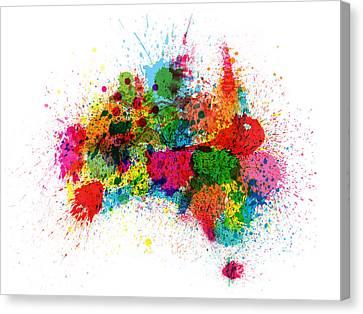 Australia Paint Splashes Map Canvas Print by Michael Tompsett