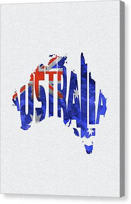Dirty Canvas Print - Australia Typographic World Map by Inspirowl Design