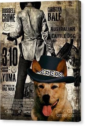 Australian Cattle Dog Art Canvas Print - 3 10 To Yuma  Movie Poster Canvas Print