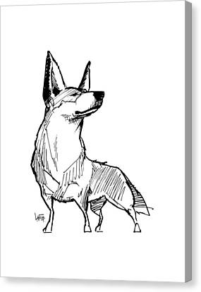 Heeler Canvas Print - Australian Cattle Dog Gesture Sketch by John LaFree