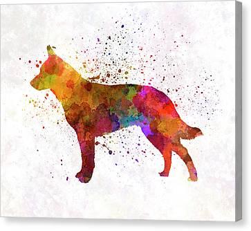 Australian Cattle Dog In Watercolor Canvas Print