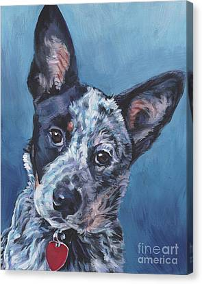 Canvas Print featuring the painting Australian Cattle Dog by Lee Ann Shepard