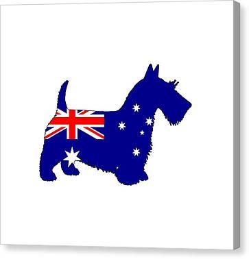 Scottish Dog Canvas Print - Australian Flag - Scottish Terrier by Steph J Marten