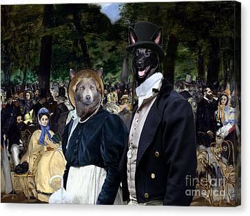 Australian Kelpie Art Canvas Print - Music In The Tuileries Gardens Canvas Print by Sandra Sij