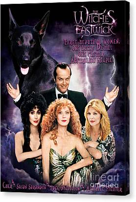 Australian Kelpie - The Witches Of Eastwick Movie Poster Canvas Print by Sandra Sij