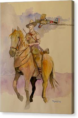 Canvas Print featuring the painting Australian Light Horse Regiment. by Ray Agius