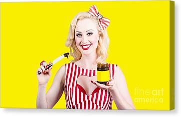Australian Pinup Woman Holding Sandwich Spread Canvas Print by Jorgo Photography - Wall Art Gallery