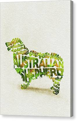 Word Art Canvas Print - Australian Shepherd Dog Watercolor Painting / Typographic Art by Inspirowl Design