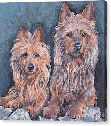 Canvas Print featuring the painting Australian Terriers by Lee Ann Shepard