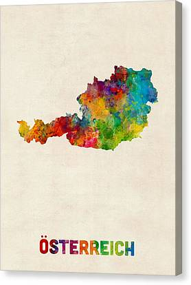 Austria Watercolor Map Canvas Print by Michael Tompsett