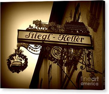 Austrian Beer Cellar Sign Canvas Print by Carol Groenen
