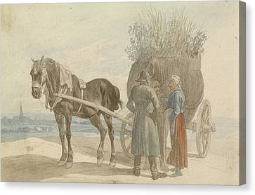 Horse And Cart Canvas Print - Austrian Peasants With A Horse And Cart by Celestial Images