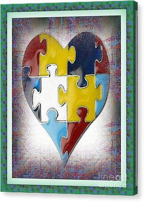 Autism--the Puzzle Of Our Autistic Heart Canvas Print by Don Melton