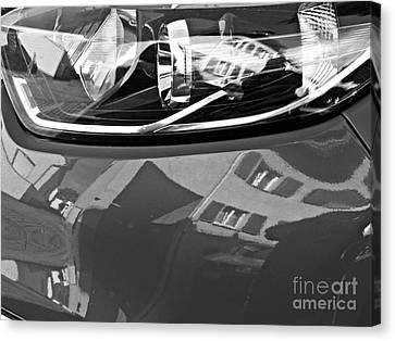 Glass And Metal Art Canvas Print - Auto Headlight 186 Monochrome by Sarah Loft