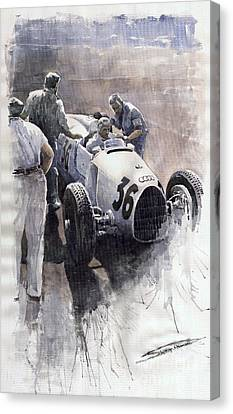 Auto Union B Type 1935 Italian Gp Monza B Rosermeyer Canvas Print by Yuriy  Shevchuk