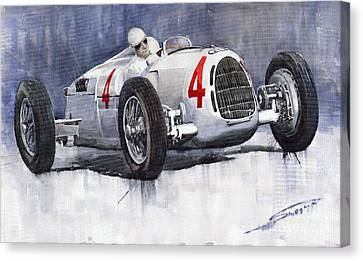 Auto Union C Type 1937 Monaco Gp Hans Stuck Canvas Print by Yuriy  Shevchuk
