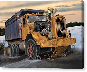 Canvas Print featuring the digital art Autocar Dumptruck by Stuart Swartz