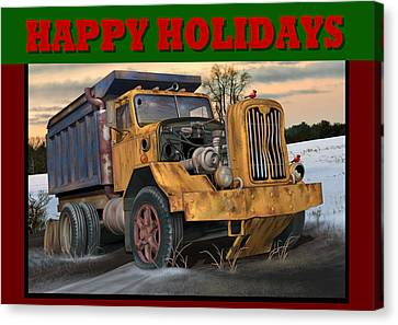 Autocar Happy Holidays Canvas Print by Stuart Swartz