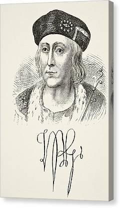 Autograph And Portrait Of King Henry Canvas Print by Vintage Design Pics
