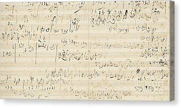 Orchestra Canvas Print - Autograph Music Manuscript, A Sketchleaf For The Slow Movement Of The String Quartet In C by Ludwig van Beethoven