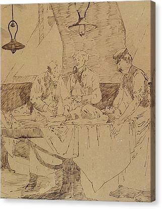 Lamp Post Canvas Print - Autopsy At The Hotel-dieu by Henri Gervex