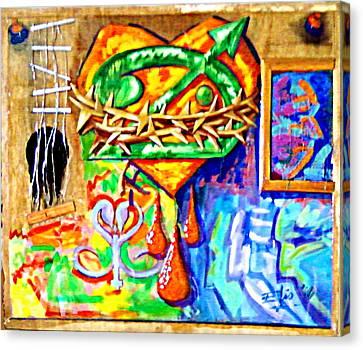 Autoretratos Guitarra Y Obra Canvas Print by Elio Lopez