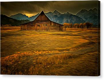 Autum At The Moulton Barn Canvas Print by Mark Kiver