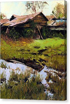 Canvas Print featuring the painting Autum Countryside by Sergey Zhiboedov