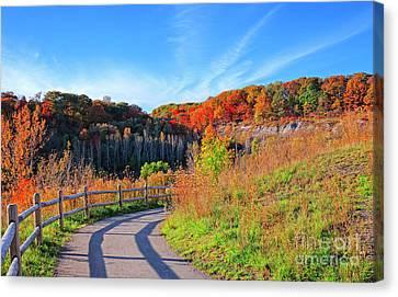Autumn Hiking Trail Canvas Print by Charline Xia