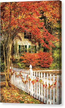 Autumn - House - Festive  Canvas Print by Mike Savad