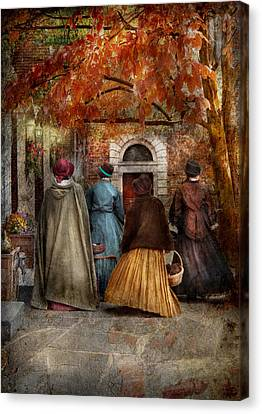 Autumn - People - A Walk Downtown  Canvas Print by Mike Savad