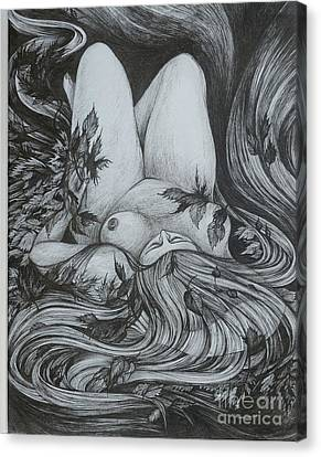 Canvas Print featuring the drawing Autumn 2 by Anna  Duyunova