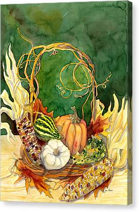Autumn Abundance - Fall Harvest Basket Indian Corn Pumpkin Gourds Canvas Print by Audrey Jeanne Roberts