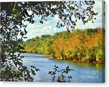 Canvas Print featuring the photograph Autumn Along The New River - Bisset Park - Radford Virginia by Kerri Farley